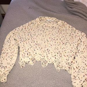 White/Polka Dot Cropped Sweater